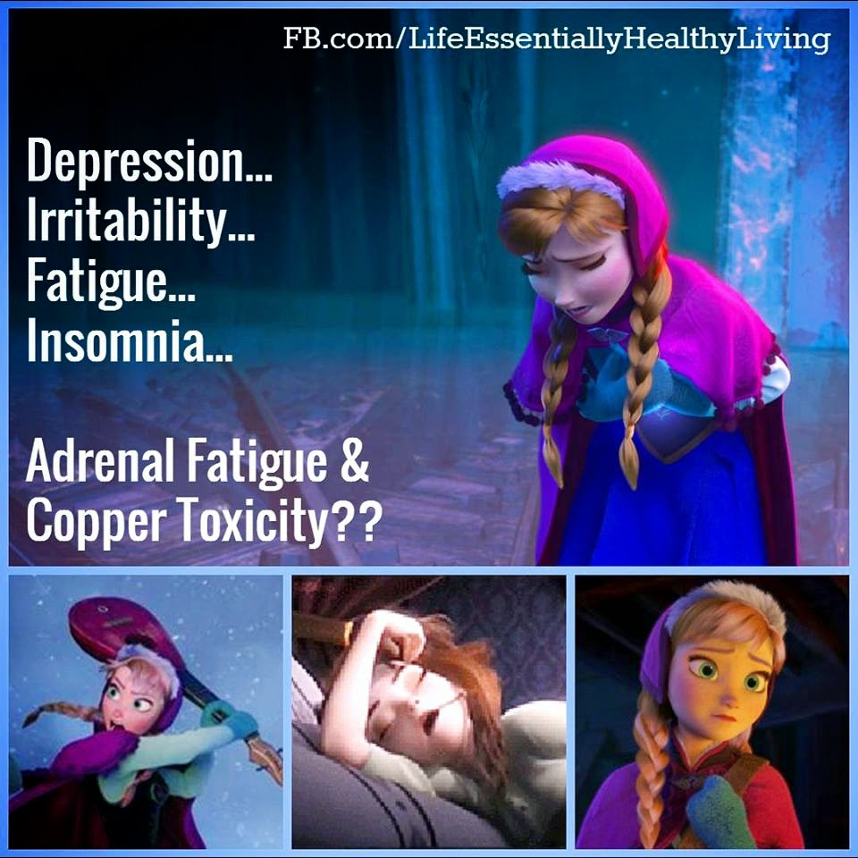 Depression, Irritability, Fatigue, Insomnia... all signs of Adrenal Fatigue... but also many Copper Toxicity I Paleo Vegeo I Barbara Christensen Wellness Advocate