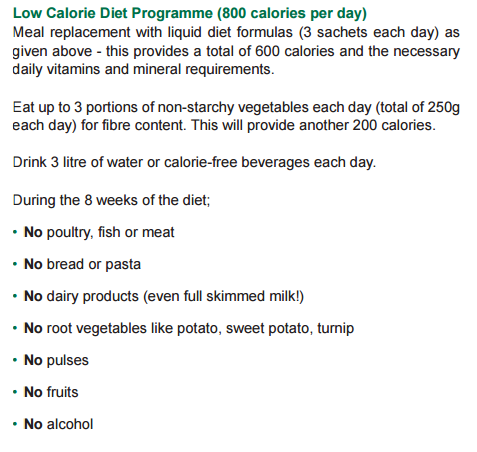 Newcastle University Low Calorie Diabetes Diet